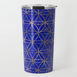 Flower of life pattern - Lapis Lazuli and Gold Travel Mug