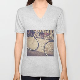 Pierina's Pink Bicycle  - Retro and Vintage Photography Unisex V-Neck