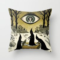 Throw Pillows featuring Three Shadow People Terrify a Victim During an Episode of Sleep Paralysis by Jon MacNair