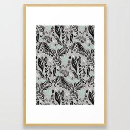 Ink jungle leaves Framed Art Print