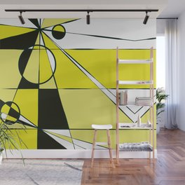 Geometric yellow and black Wall Mural
