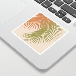 Palm Leaves Orange Green Vibes #1 #tropical #decor #art #society6 Sticker