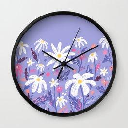Flower daisies in purple Wall Clock