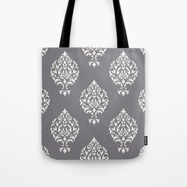 Orna Damask Pattern Cream on Grey Tote Bag