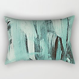 Pastel Green Abstract Painting With Broad Brush Strokes Rectangular Pillow
