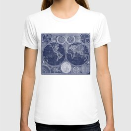 World Map (1794) Blue & White T-shirt