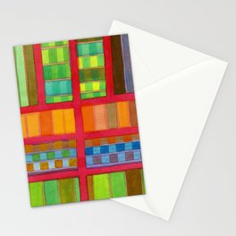 Red Grid with Checks Pattern and vertical Stripes Stationery Cards