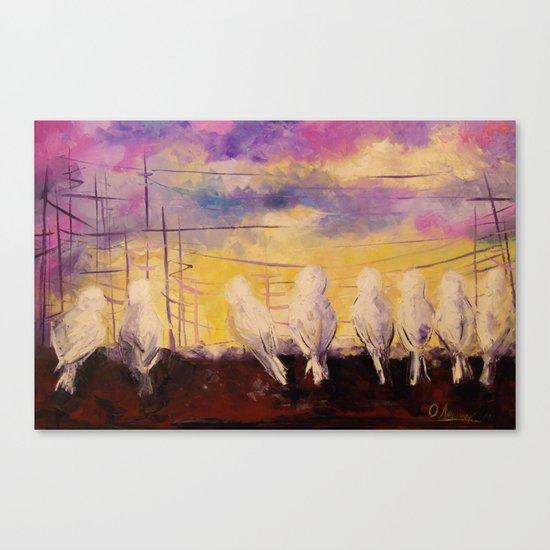 Pigeons at sunset Canvas Print