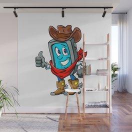 Smartphone cowboy cartoon, Wall Mural