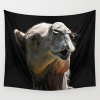 camel Wall Tapestries featuring Camel Kiss by 100 Watt Photography