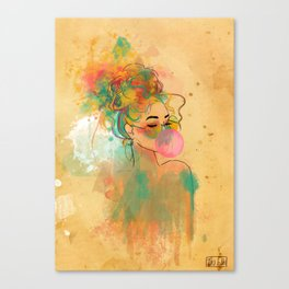 Bubble Gum Funky Girl Canvas Print