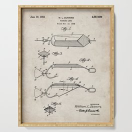 Fishing Lure Patent - Fisherman Art - Antique Serving Tray