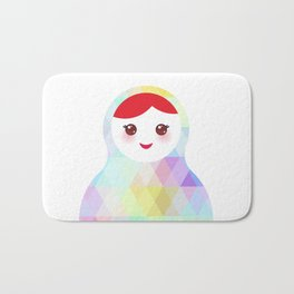 Russian doll matryoshka with bright rhombus on white background, rainbow pastel colors Bath Mat