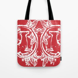 twin dancing stags of asheville from a wood carving Tote Bag