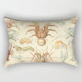 Sea Creatures // Crustaces by Adolphe Millot XL 19th Century Science Textbook Diagram Artwork Rectangular Pillow