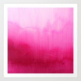 Modern fuchsia watercolor paint brushtrokes  Art Print