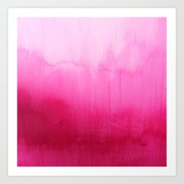 Modern fuchsia watercolor paint brushtrokes Art Print