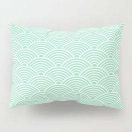 Japanese Waves (White & Mint Pattern) Pillow Sham