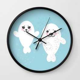 set Funny white fur seal pups, cute winking seals with pink cheeks and big eyes. Kawaii animal Wall Clock