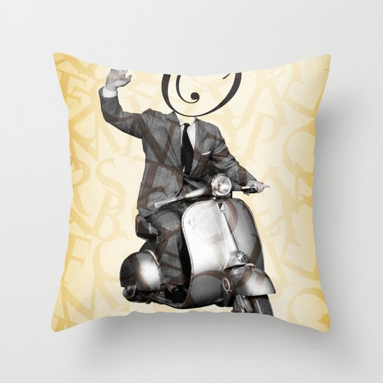 Mr O on his vespa Throw Pillow