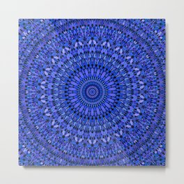 Blue Spiritual Stone Mandala Metal Print