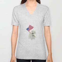 Original Paper Cutting of Westie With American Flag Unisex V-Neck