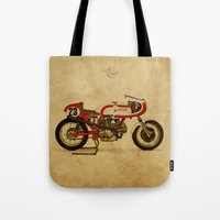 ducati Tote Bags featuring Ducati 750SS Corsa 1974 by Larsson Stevensem