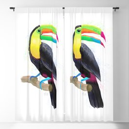 Colorful Tropical Toucan Watercolor Painting , Birds Collection  Blackout Curtain