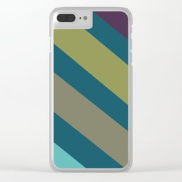 Teal and Stripes Decorative Pattern Clear iPhone Case