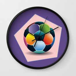 Soccer ball inside pink pentagon Wall Clock