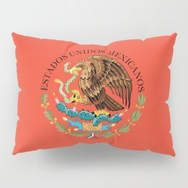 Close up of the Seal from the flag of Mexico on Adobe red background Pillow Sham