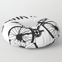Bicycling humor: Crank It Up mantra with bicycle Floor Pillow