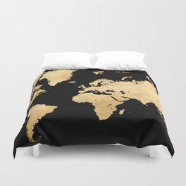 Sleek black and gold world map Duvet Cover