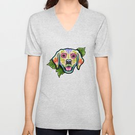 Golden Retriever - Day of the Dead Sugar Skull Dog Unisex V-Neck
