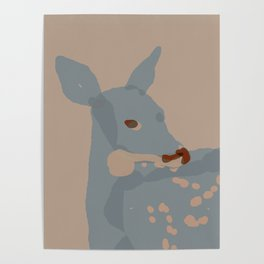 Grey Deer Poster