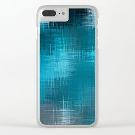 blue and black plaid pattern Clear iPhone Case
