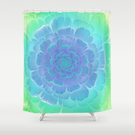 Romantic blue and green flower, digital abstracts Shower Curtain