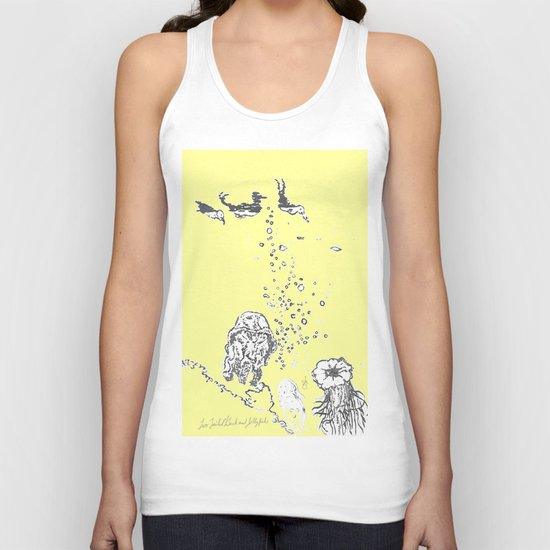 Two Tailed Duck and Jellyfish Baby Yellow Unisex Tank Top