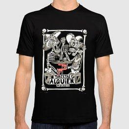 two skeletons gambling T-shirt