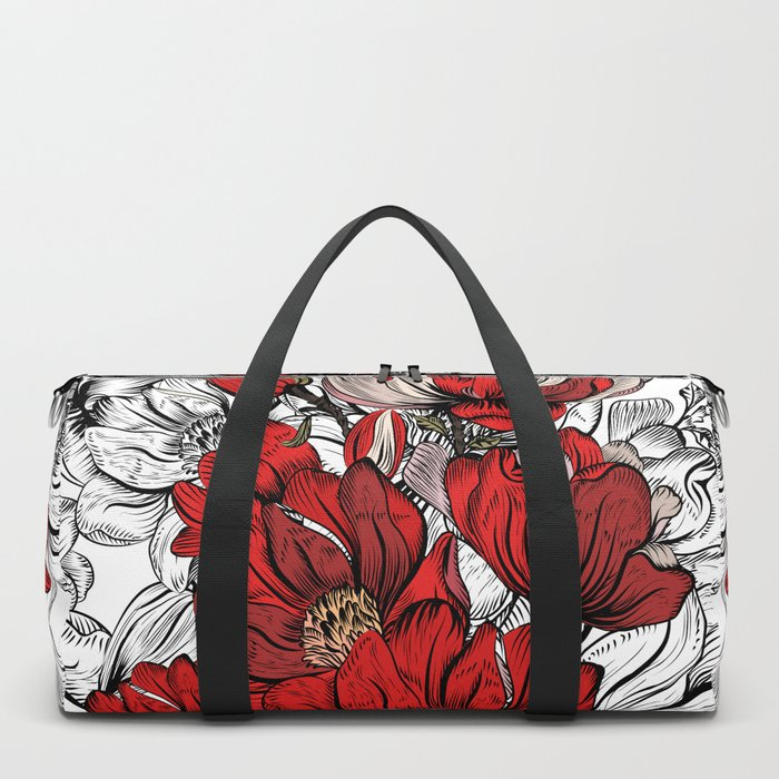RED PEONIES PATTERN Duffle Bag