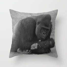 Black and white Gorilla Throw Pillow