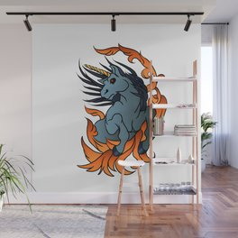 unicorn old school tattoo. Wall Mural