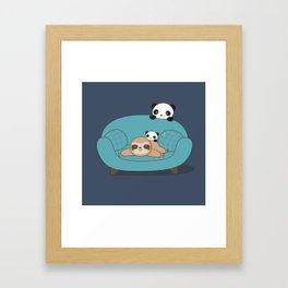Kawaii Panda and Sloth Framed Art Print