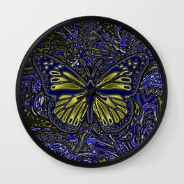 Monarch Butterfly Abstract Art Yellow Blue Wall Clock