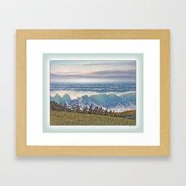 BIG WAVE OCEAN IN MOTION SEASCAPE VINTAGE OIL PAINTING Framed Art Print