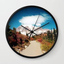 Mt Rainier in Autumn Wall Clock