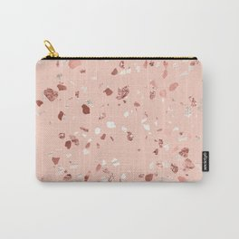 Deep Pink Quartz Gold Terrazzo Carry-All Pouch