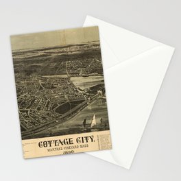 Aerial View of Cottage City (Oak Bluffs), Massachusetts (1890) Stationery Cards