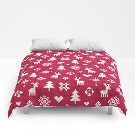 PIXEL PATTERN - WINTER FOREST RED Comforters