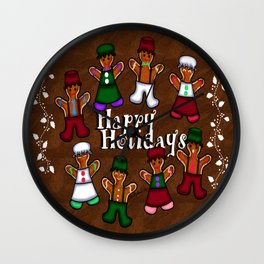 Holiday Gingerbread Friends Wall Clock